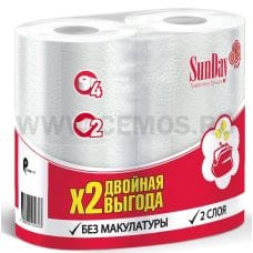 Бумага туалетная SunDay 2-сл бл 4