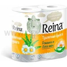 Бумага туалетная  Reina 2-сл Ромашка+алоэ вера бл 4
